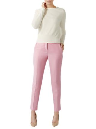 Pure Collection Tailored Ankle Length Trousers, Pink