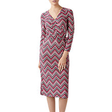 Buy Pure Collection Chevron Print Silk Dress, Pink/Multi Online at johnlewis.com