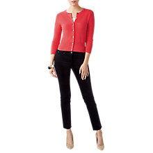 Buy Pure Collection Cropped Cashmere Cardigan, Rich Coral Online at johnlewis.com