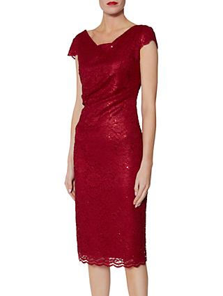 Gina Bacconi Pamela Sequin Lace Dress, Red