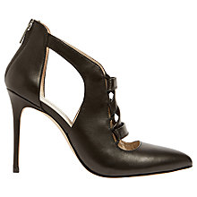 Buy Karen Millen Leather Stiletto Court Shoes, Black Online at johnlewis.com