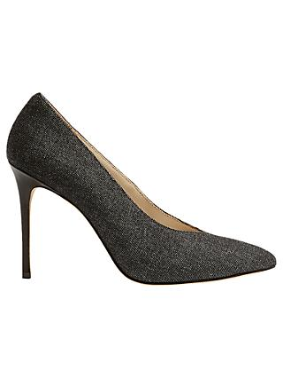 Karen Millen Collection High Vamp Court Shoes, Denim