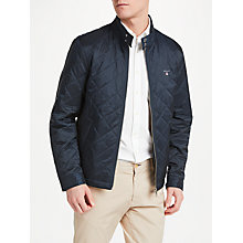 Buy GANT Stand Collar Quilted Windcheater Jacket, Navy Online at johnlewis.com
