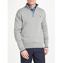 Buy GANT Cotton Contrast Half Zip Sweatshirt, Grey Online at johnlewis.com