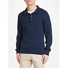 Buy GANT Cable Knit Collar Neck Rugger Jumper, Navy Online at johnlewis.com