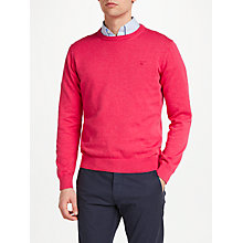 Buy Gant Lightweight Cotton Crew Neck Jumper, Cyclamen Pink Online at johnlewis.com
