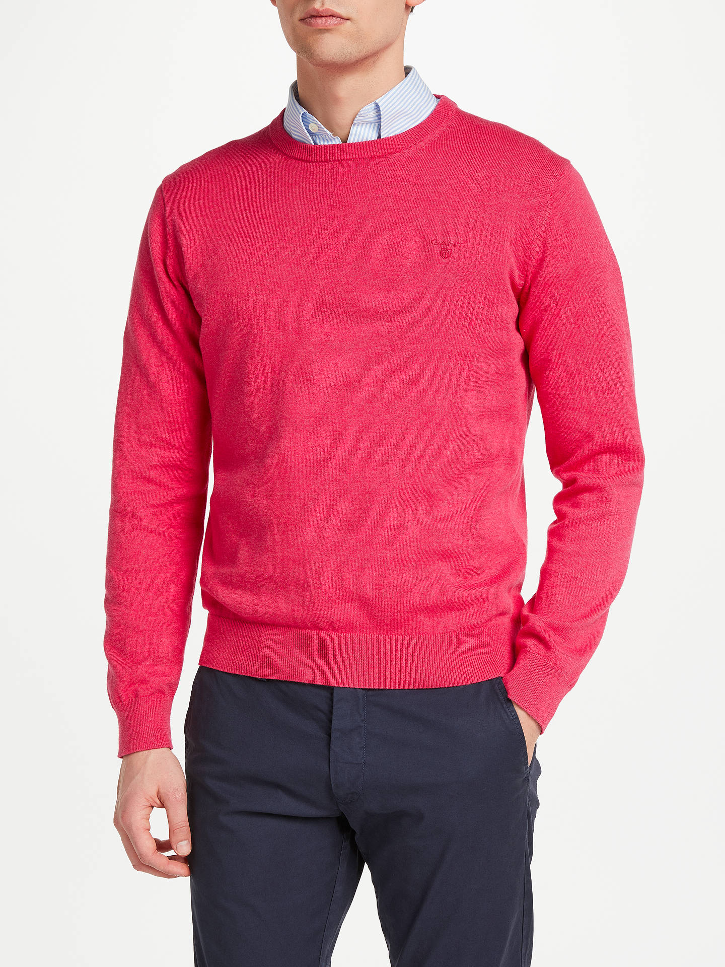 superior quality fashion style classic chic Gant Lightweight Cotton Crew Neck Jumper, Cyclamen Pink at ...
