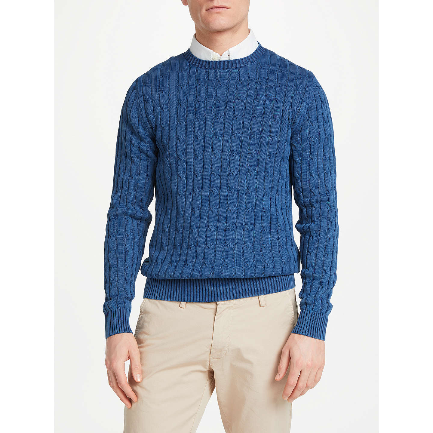 BuyGANT Sunbleached Cable Knit Jumper, Persian Blue, S Online at  johnlewis.com