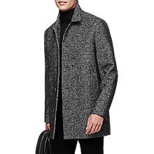 Buy Reiss Belvour Dogtooth Overcoat, Black Online at johnlewis.com