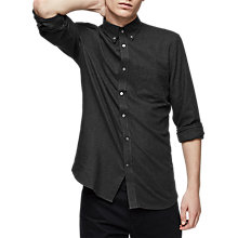 Buy Reiss Emerick Cotton Flannel Shirt, Charcoal Online at johnlewis.com