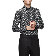 Buy Reiss Cafe Geometric Print Shirt, Grey Online at johnlewis.com