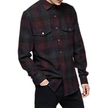 Buy Reiss Union Check Overshirt, Bordeaux Online at johnlewis.com