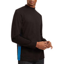 Buy Jaeger Contrast Half Roll Cotton Jumper, Bright Blue Online at johnlewis.com