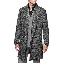 Buy Reiss Owens Wool Check Overcoat, Black Online at johnlewis.com