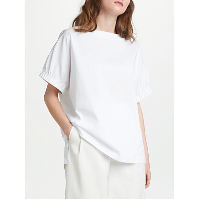 Modern Rarity Gathered Sleeve Poplin Top, White