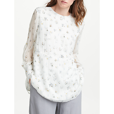 Modern Rarity Archive Print Shadow Floral Loose Top, White