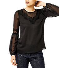 Buy Warehouse Lace Neck Trim Top, Black Online at johnlewis.com