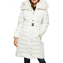 Buy Miss Selfridge Upspec Puffer Coat, White Online at johnlewis.com
