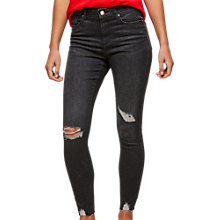 Buy Miss Selfridge Lizzie Washed Ripped Jeans, Black Online at johnlewis.com