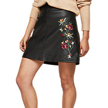 Buy Miss Selfridge PU Embroidered Skirt, Black Online at johnlewis.com