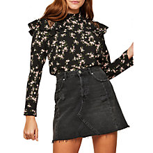 Buy Miss Selfridge Petite Ditsy Print Blouse, Black Online at johnlewis.com