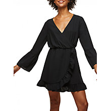 Buy Miss Selfridge Long Sleeve Wrap Dress, Black Online at johnlewis.com
