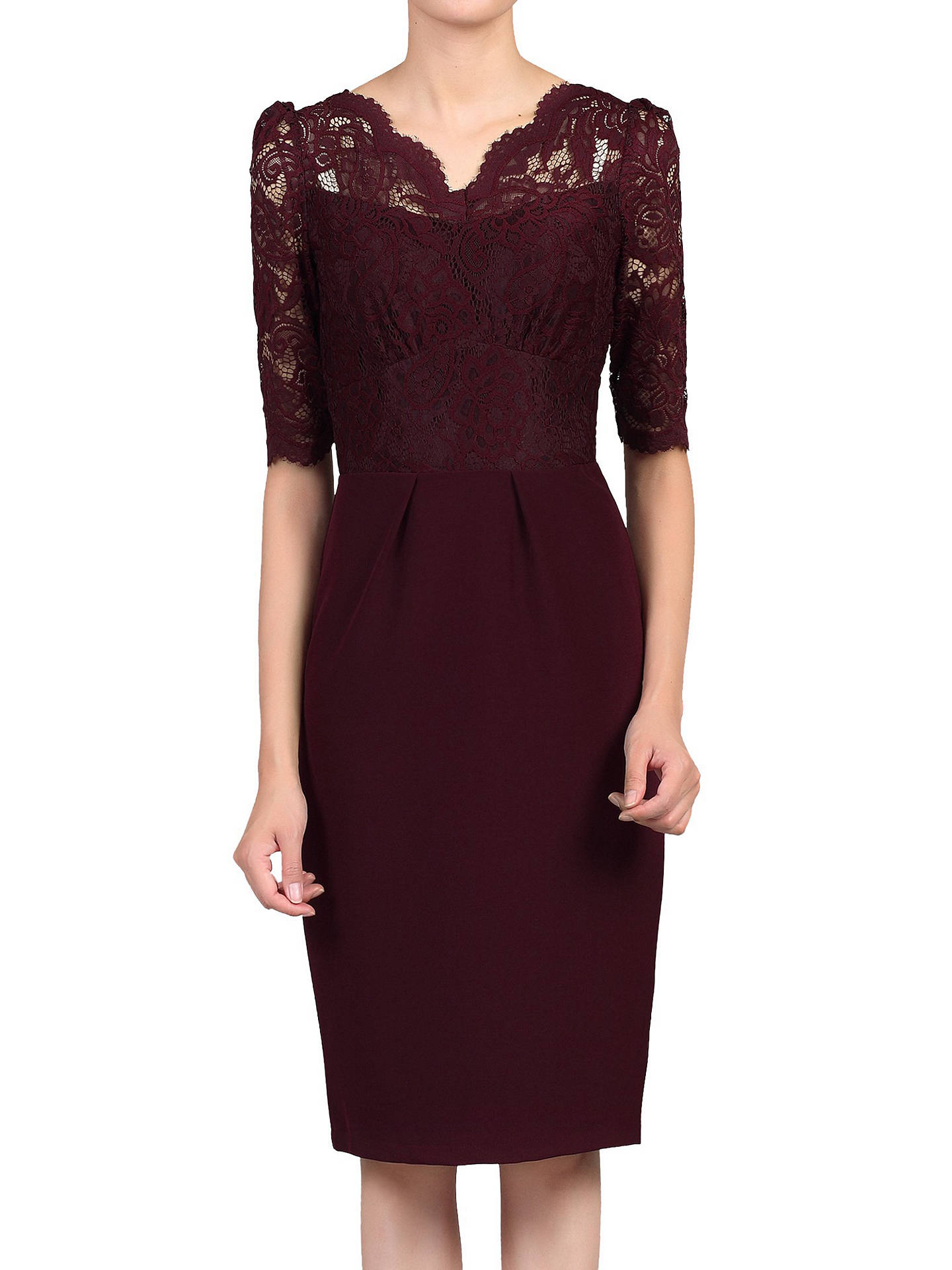 f7c57cfb8af6 Buy Jolie Moi Elbow Sleeve Lace Bodycon Dress, Burgundy, 8 Online at  johnlewis.