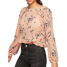 Buy Miss Selfridge Petite Print Blouse, Pink Online at johnlewis.com