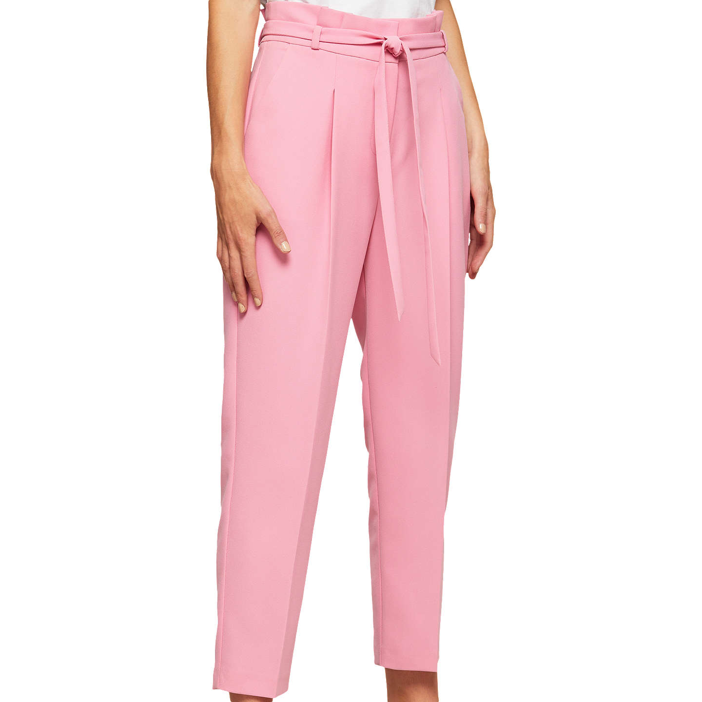 Miss Selfridge Petite Paper Bag Trousers, Pink at John Lewis