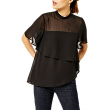 Buy Warehouse Tiered Chiffon Blouse, Black Online at johnlewis.com