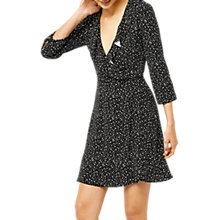 Buy Warehouse Ditsy and Star Print Flared Dress, Black Online at johnlewis.com