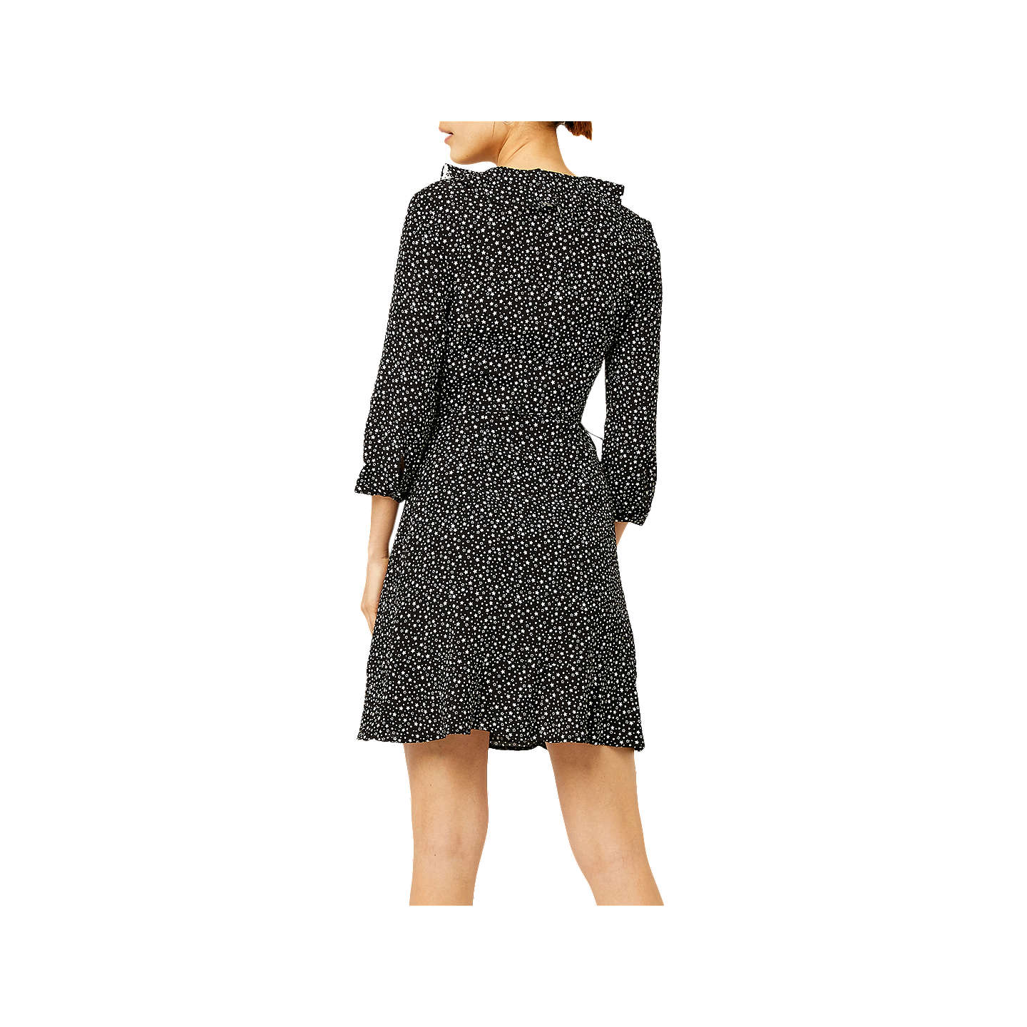 BuyWarehouse Ditsy and Star Print Flared Dress, Black, 6 Online at johnlewis.com