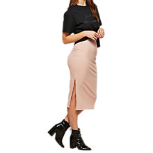 Buy Miss Selfridge Ribbed Pencil Skirt, Powder Blush Online at johnlewis.com