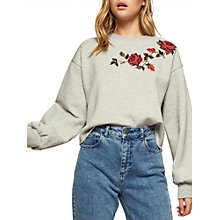 Buy Miss Selfridge Embroidered Sweatshirt, Grey Online at johnlewis.com