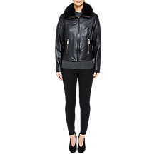 Buy Ted Baker Tamri Shearling Leather Jacket, Black Online at johnlewis.com