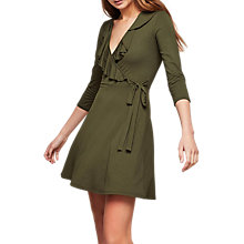 Buy Miss Selfridge Wrap Frill Detail Dress, Khaki Online at johnlewis.com
