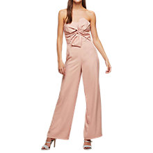 Buy Miss Selfridge Bow Front Bardot Jumpsuit, Pink Online at johnlewis.com