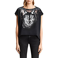 Buy AllSaints Nightwolvz Pina T-Shirt, Black Online at johnlewis.com