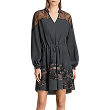 Buy AllSaints Laya Baroco Dress, Forest Green Online at johnlewis.com