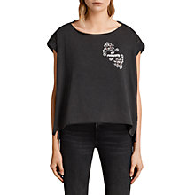 Buy AllSaints Fade Out Fave Pina T-Shirt, Black Online at johnlewis.com