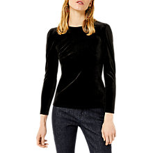Buy Warehouse Velvet Puff Sleeve Top, Black Online at johnlewis.com