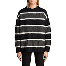 Buy AllSaints Edi Crew Neck Jumper, Black/White Online at johnlewis.com