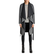 Buy AllSaints Ella Waterfall Coat, Light Grey Online at johnlewis.com