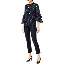 Buy Warehouse Gilly Floral Top, Black Pattern Online at johnlewis.com