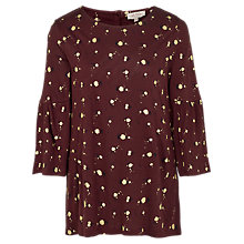 Buy Fat Face Frankie Floral Top, Deep Berry Online at johnlewis.com