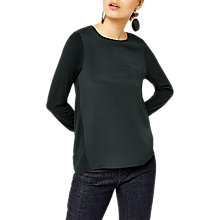 Buy Warehouse Long Sleeve Woven Hem Top, Dark Green Online at johnlewis.com