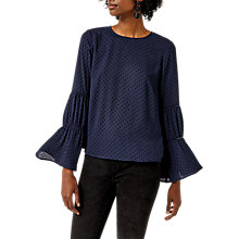 Buy Warehouse Dobby Lace Insert Top, Navy Online at johnlewis.com