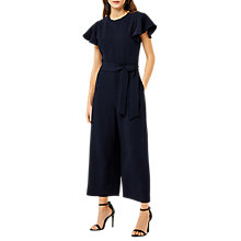 Buy Warehouse Frill Sleeve Jumpsuit, Navy Online at johnlewis.com