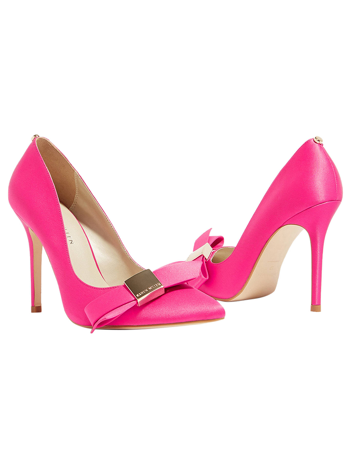 b894f0bd00c Karen Millen Stiletto Heel Bow Court Shoes, Pink at John Lewis ...