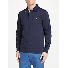 Buy GANT Heavy Rugger Jersey Top, Navy Online at johnlewis.com